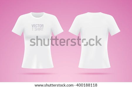 White vector T-shirt. Woman T-shirt template isolated on pink background. Realistic mockup. - stock vector