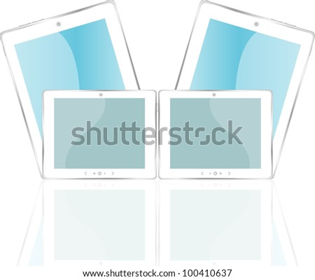 White vector tablet pc with blue screen. Object with reflection of background