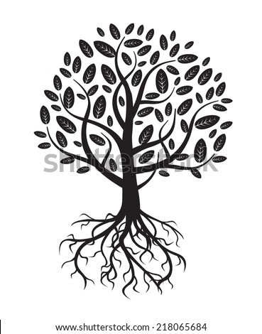 white vector tree and roots - stock vector