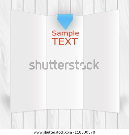 White vector triptych over wooden texture background - stock vector