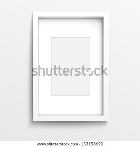 White vertical frame on gray wall with realistic shadows. Vector illustration. EPS10. - stock vector