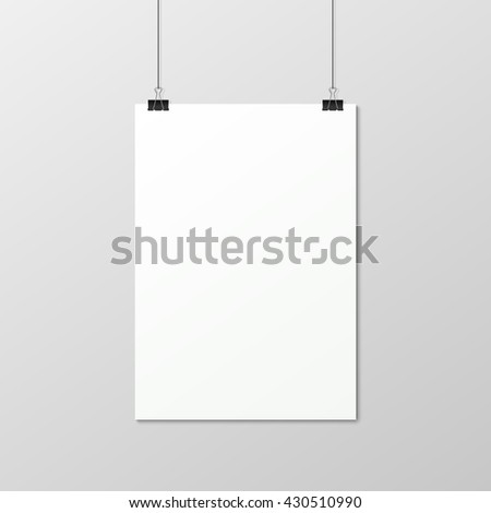 White vertical poster A4 on a rope. - stock vector