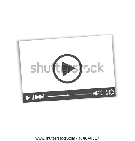 White video player with shadow on a white background