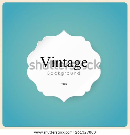 White vintage frame on blue background. Illustration eps10 - stock vector