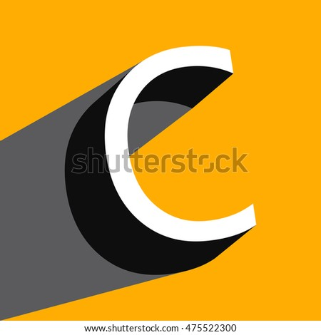 "White volume letter ""C"" with a shadow on a yellow background. Vector illustration"