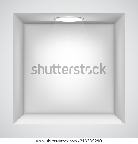 White wall with empty niche for exhibition. - stock vector