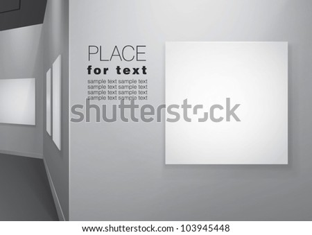 White walls gallery  with empty canvases on them. Vector eps10 - stock vector