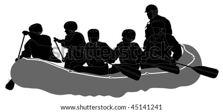 White water rafters - Silhouette - stock vector