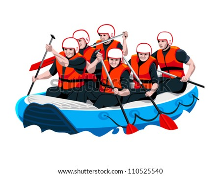 White water rafting men and women team - stock vector