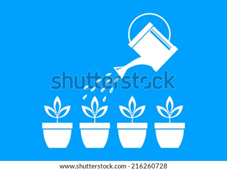 White watering can and plants on blue background  - stock vector