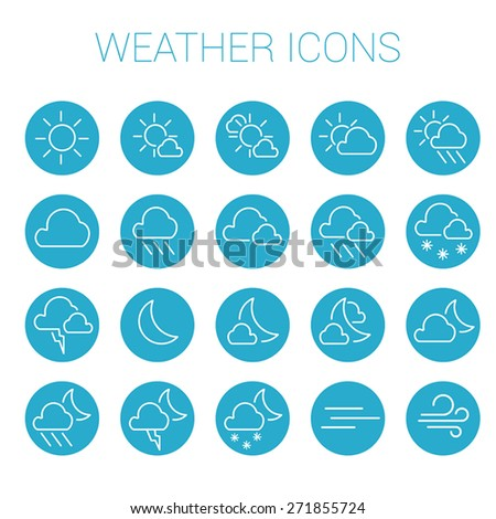 White weather icon set in blue circles - stock vector