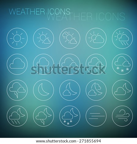 White weather icon set in circles and blurred background - stock vector