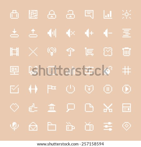 white web icons set in pixel art. concept of shopping trolley, thumb up, ui, videogame file, seo, volume. isolated on stylish background. pixelart style trendy modern logo design vector illustration - stock vector