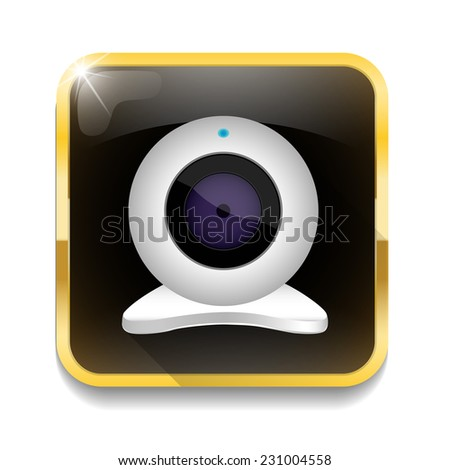 white webcam icon With long shadow over app button - stock vector