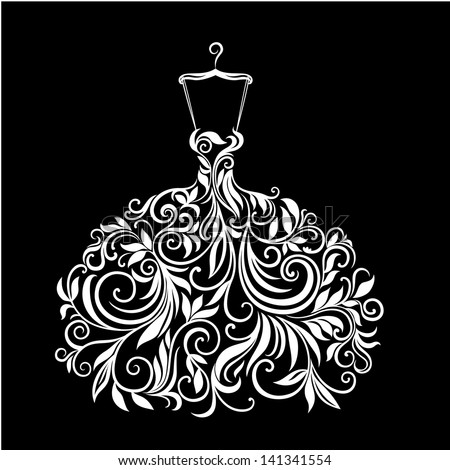 White wedding dress with floral ornament vector illustration - stock vector