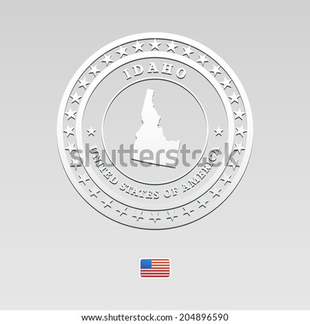 white welt label with map of Idaho, vector - stock vector
