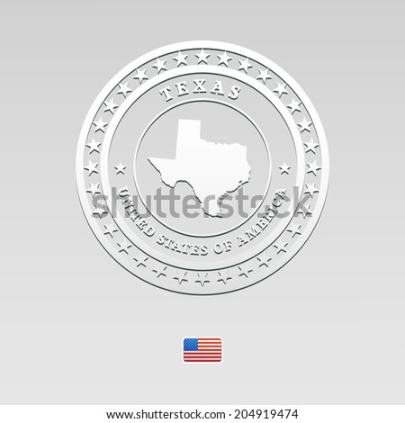 white welt label with map of Texas, vector - stock vector