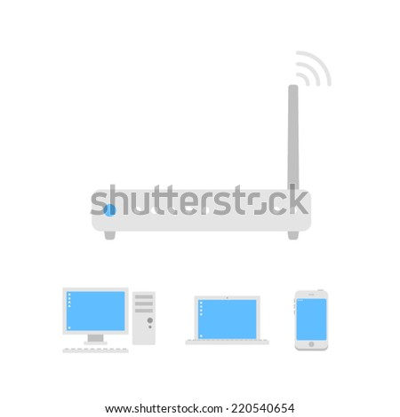 White wi-fi router icon connected with pc, notebook and smartphone - stock vector