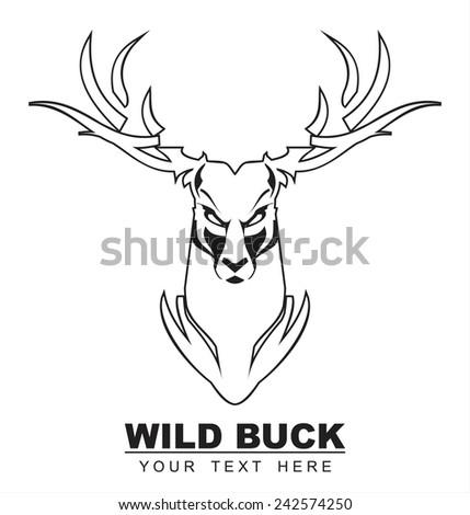 White wild buck. Black outline - stock vector