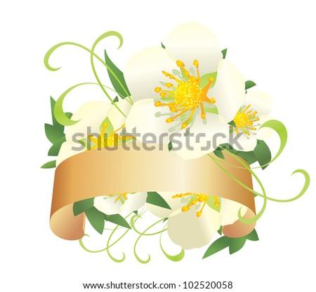 white wild roses banner vector decor illustration - stock vector