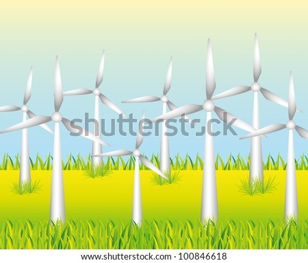white windmills to generate energy on grass background - stock vector