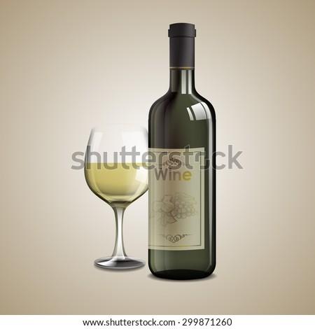 white wine - stock vector