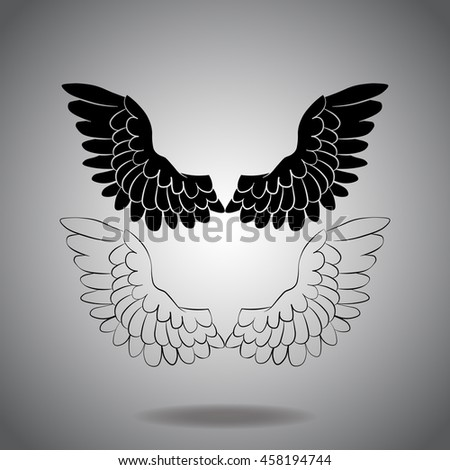 White wings icon vector. Flat icon on gray background. Simple illustration.