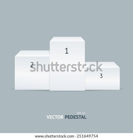 White winners pedestal isolated on grey background - stock vector