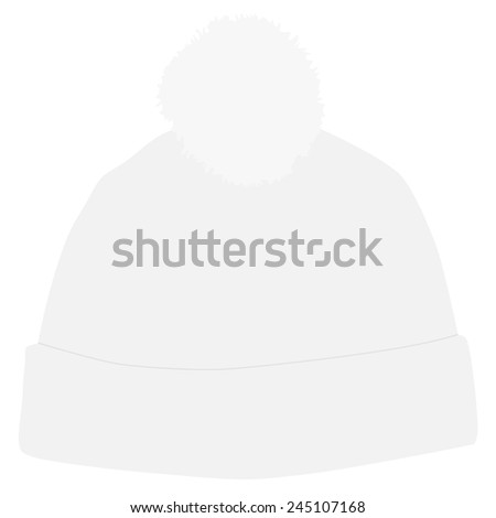 White winter hat with white pompom vector isolated, snowboarding hat - stock vector