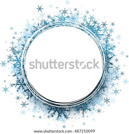 White Winter Round Background Blue Snowflakes Stock Vector 487210099 ...