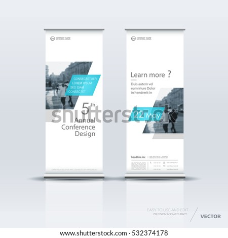 White with blue roll up banner design brochure flyer vertical template, vector x-banner and street business flag-banner, cover presentation abstract geometric background vertical layout