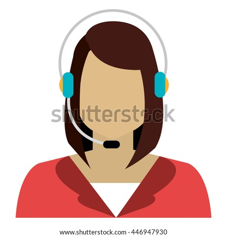 white woman avatar with headphones over isolated background, vector illustration  - stock vector