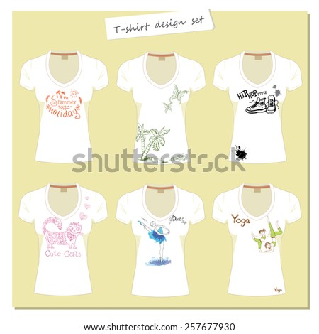 white women's t-shirts with the label. Print design - different hand drawings.