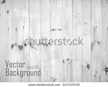 White Wood Background. Vector texture. - stock vector