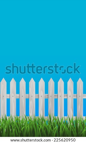 White Wooden Fence and Grassy Meadow in front of Blue Background. Vector Illustration