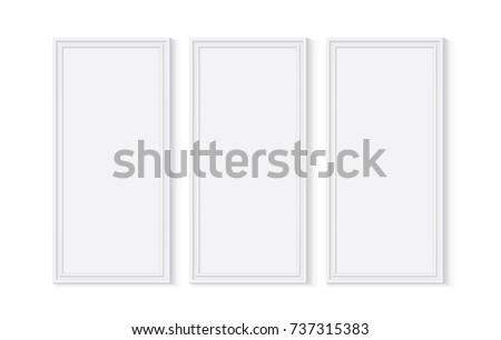 White Wooden Plastic Frame Easy Change Stock Vector 737315383 ...