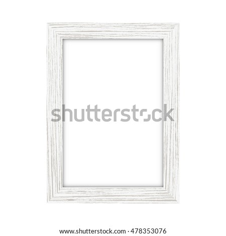 white wooden rectangular picture frame on a white background vector - White Wood Frame
