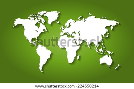 White World Map on Green Background with Shadows - EPS10 Vector - stock vector