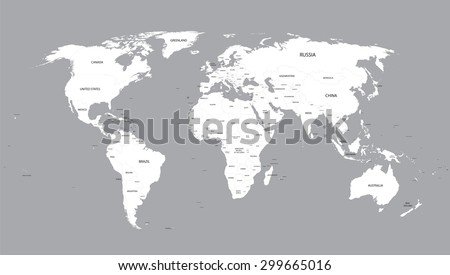 White World Map With Names Of All Countries