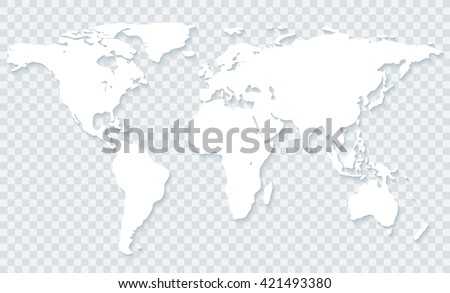 White world map with shadow on transparent background.Vector EPS10 - stock vector