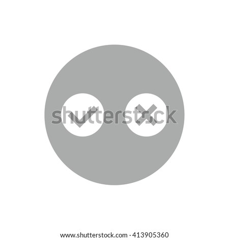 White yes or no vector sign. Gray circle. Gray button