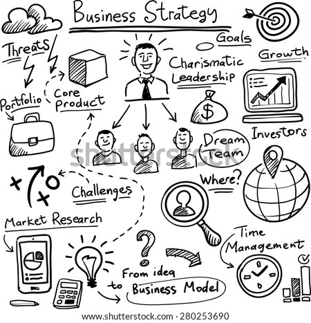 whiteboard business strategy vector template - stock vector
