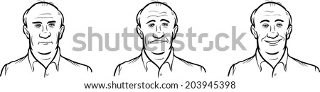 whiteboard drawing - bald guy face three expressions - stock vector
