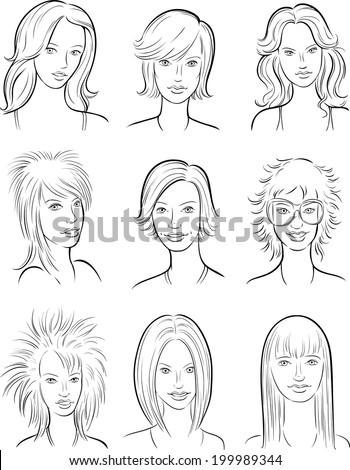 whiteboard drawing - beautiful women faces - stock vector