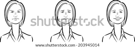 whiteboard drawing - business woman face three expressions - stock vector
