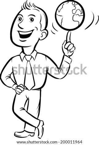 whiteboard drawing - businessman spinning globe on finger - stock vector