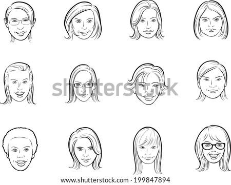 whiteboard drawing - cartoon avatar women faces - stock vector