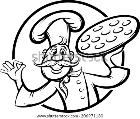 whiteboard drawing - cartoon pizza chef mascot - stock vector