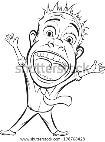 whiteboard drawing - cartoon vector screaming business person. Easy-edit layered vector EPS10 file scalable to any size without quality loss.  - stock vector