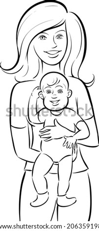 whiteboard drawing - happy mother and baby - stock vector